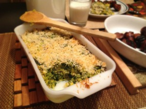 Squash, kale, bacon bake